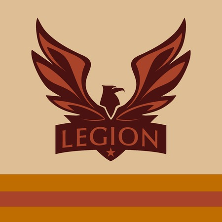 war bird: Vector logo with a picture of an eagle. Legion.
