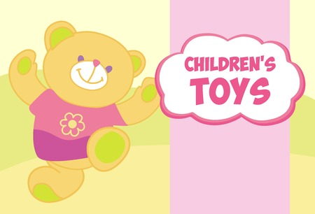 shop for animals: Vector banner with a teddy bear. Template for advertising childrens store. Childrens toys