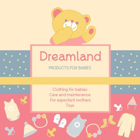 fondo para bebe: Vector de fondo con unos productos de marca para beb�s. Publicidad de productos para beb�s. Pa�s de los sue�os.