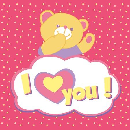 te amo: Tarjeta de felicitaci�n del vector con el oso de peluche. Beso, te quiero.