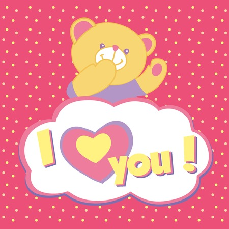 Vector greeting card with teddy bear. Kiss, I love you. Vector