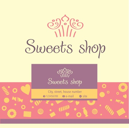 Vector logo, business card for a candy store. Background of sladstey cookies, candy Vettoriali