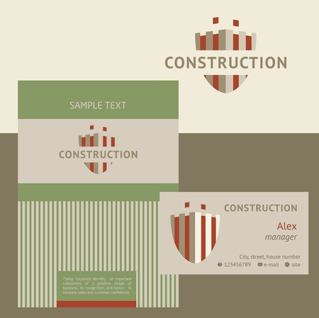 construction companies: Vector logo, business card and cover for construction companies, real estate agencies. The design concept. Illustration