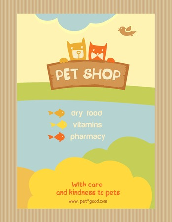 Brochure Flyer design vector template in A4 size. Advertise store for pets. Vector