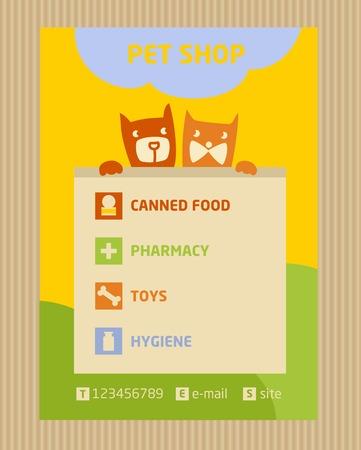 tienda de animales: Folleto folleto plantilla vector de tama�o A4. Publicidad tienda para mascotas. Los iconos de la tienda de animales
