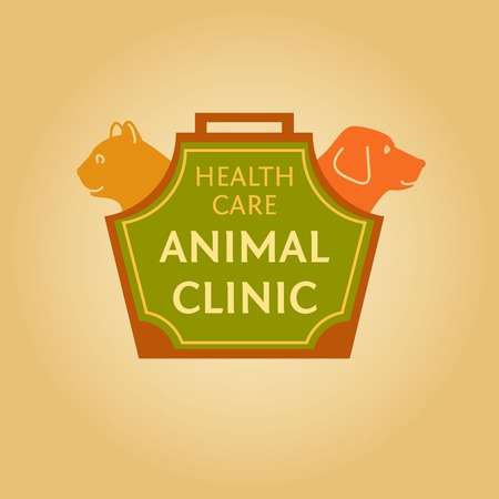 Logo with animals for animal clinic. Health care. Veterinary hospital. Cat and dog. Cat and dog in the bag-carrying. Vector