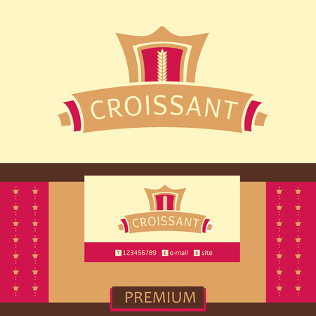 Vector logo, business card, identification of the bakery with logo. Croissant, the premium segment