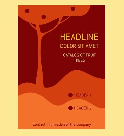 Brochure Flyer design vector template in A4 size. Fruit trees, apple. Vector