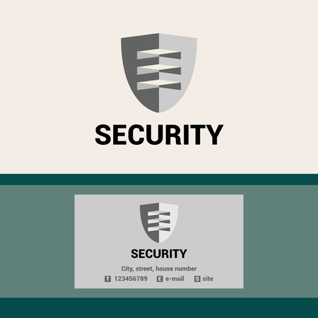 visor: Editable template logo and business card for security organization. The shield and visor. Illustration