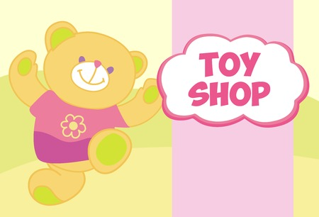 child's: Vector banner with a teddy bear. Template for advertising childrens store. Toy shop Illustration