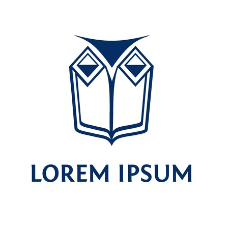 lawfulness: Vector logo with a picture of an owl, books and scales. The image of the institution, the Faculty of Law. Jurisprudence. Illustration