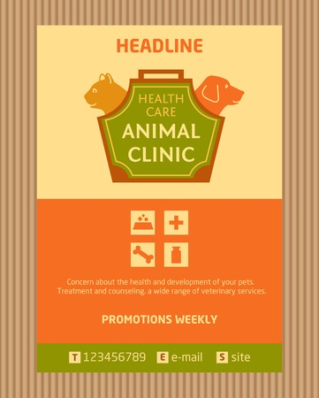 Logo for animal clinic. Brochure, Flyer design vector template in A4 size. Advertise store for pets. Icons for pet shop. Vector