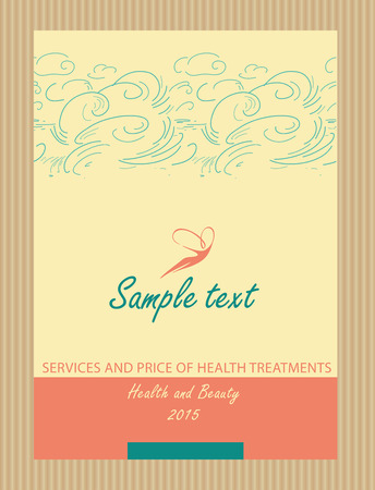 Logos and identification. Flyer, cover. Aesthetics, relaxation, spa. Flight of a woman in the sky. Services and price of health treatments. Health and beauty. Vector