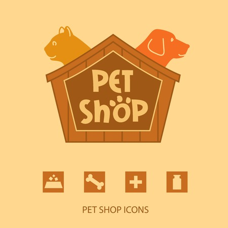 Logo with animals for pet shop. Cat and dog in the house. Vector logo,  label. Pet shop icons.