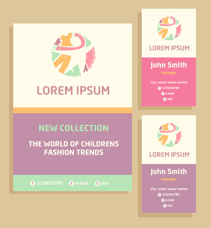 Vector logo, flyer and business card for a childrens clothing store. Template advertising for childrens clothing.