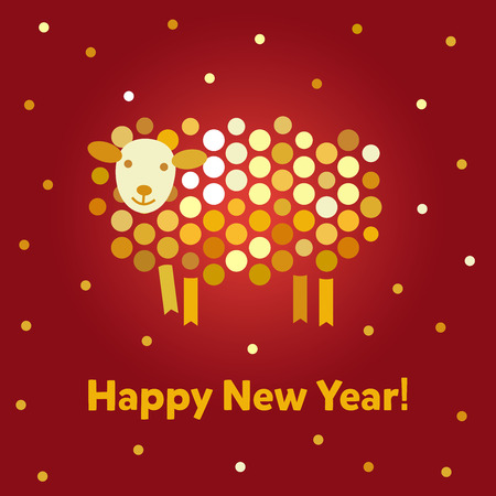 Vector Christmas background. Symbol of the year 2015 sheep