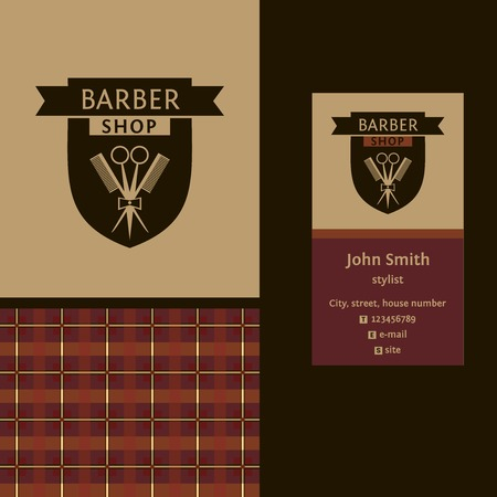 Vector heraldic logo for a hairdressing salon. Business card. Template for corporate style barbershop. Status and elegance.