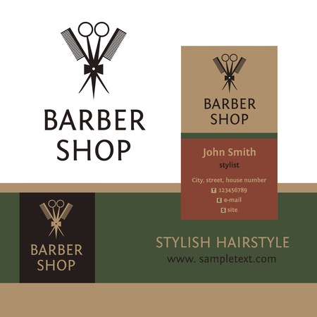 barber scissors: Vector heraldic logo for a hairdressing salon. Business card and banner. Template for corporate style barbershop. Status and elegance.