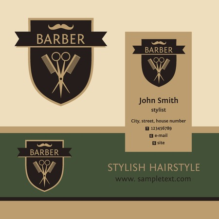 barbershop: Vector heraldic logo for a hairdressing salon. Business card and banner. Template for corporate style barbershop. Status and elegance.