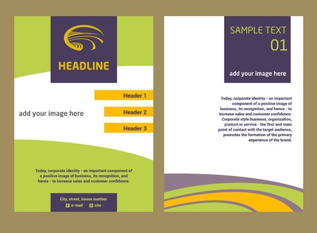 image size: Brochure Flyer design vector template in A4 size. The logo with the image field of the road. Illustration