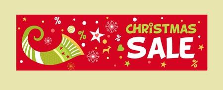 cornucopia: Banner imagen Venta de la Navidad con un cuerno de la abundancia de. Nuevos descuentos de publicidad.