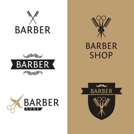 barbers: Vector heraldic logo for a hairdressing salon. Set logo for barber shop.