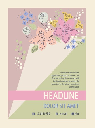 Flyer with a bouquet of flowers, ajar page. Cover for the catalog of flowers, aromatherapy.