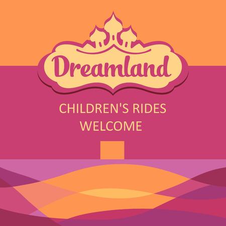 rides: Vector and background for childrens rides. Abstract colored background.