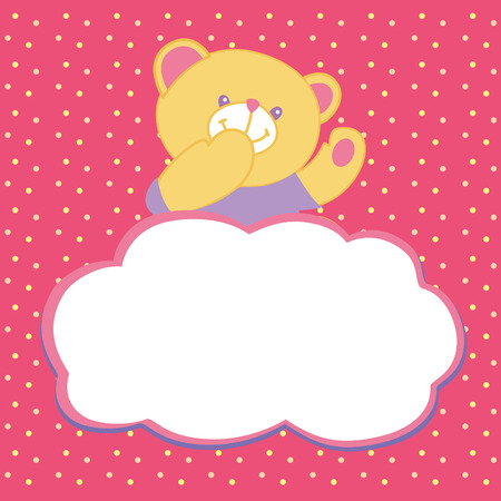 Vector greeting card with teddy bear. Kiss, love, space for text. Vector