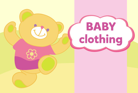 shop for animals: Vector banner with a teddy bear. Template for advertising childrens store. Illustration