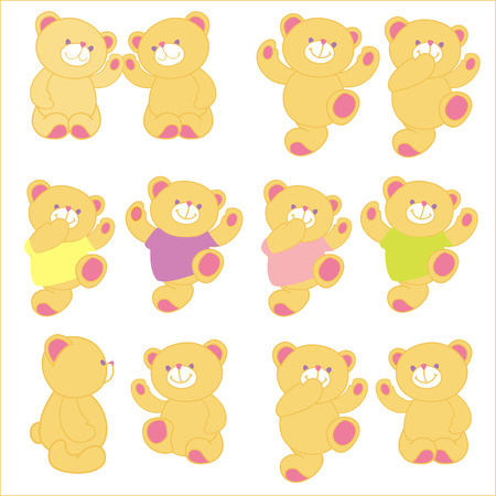 frendship: Vector illustration of teddy bear in different pose. Set.