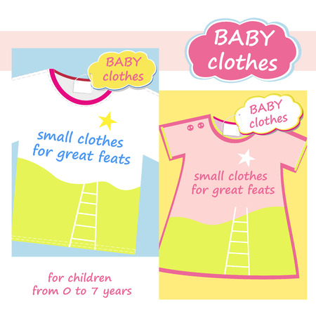 feats: Shop childrens clothing  for boys and girls. banner for baby clothes. Posters advertising clothing for boys and girls. Little clothes for great feats.