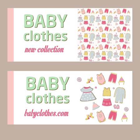 bodysuit: Shop childrens clothing  for boys and girls. Visual communication.Banner for baby clothes. New collection. Advertising clothing store Illustration