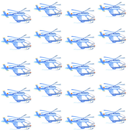 Blue helicopter. watercolor seamless pattern. transport motion