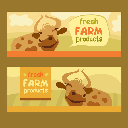 cow cartoon: Fresh farm products. Happy cow on meadow. Editable banner. Rustic natural products. Agricultural. Illustration