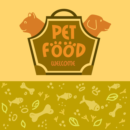 shop for animals: Design animals for pet food shop. Cat and dog. Cat and dog in the bag-carrying.