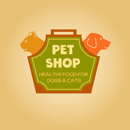 shop for animals: Logo with animals for pet food shop. Cat and dog. Cat and dog in the bag-carrying.
