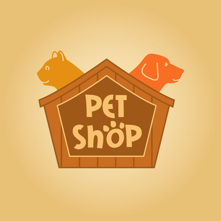 shop for animals: Design with animals for pet shop. Cat and dog in the house.