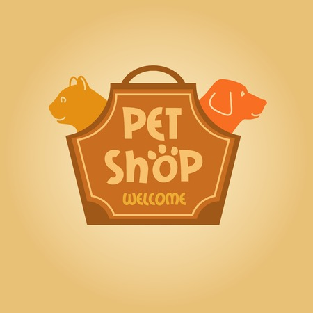 shop for animals: Design with animals for pet shop. Cat and dog. Cat and dog in the bag-carrying.