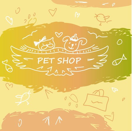shop for animals: Colorful banner with animals for pet shop. Hand-drawn cartoon, funny, kids animalic background