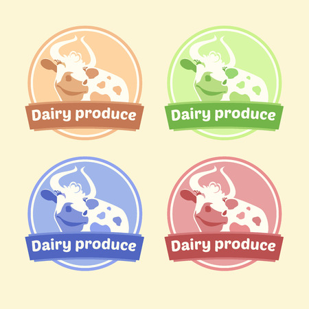 Set of labels for dairy products. Editable labels for packages. Dairy products. Yogurt, kefir, milk, fermented baked milk