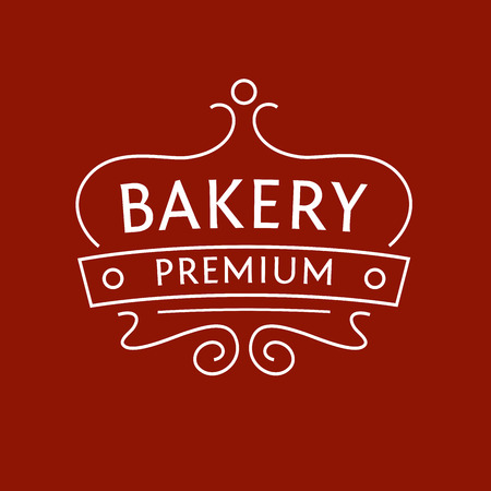 sweet: Design for the bakery on red-brown background. The stylized image of a cake on a tray. Illustration