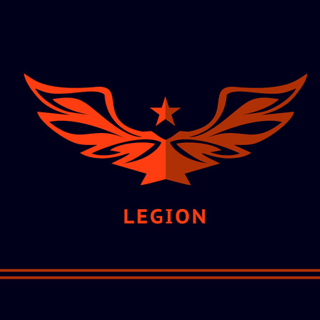 Design with the image of the wide-open wings and stars. The victory of the battle. Legion.