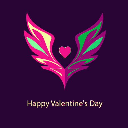 emblem with wings and heart. Shades of pink and purple. Illustration