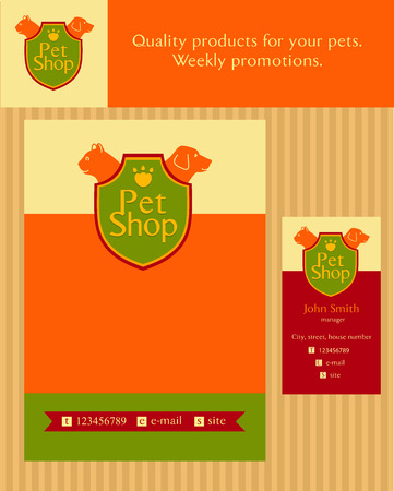 shop for animals: emblem store for cats and dogs. Editable. Flyer design vector template in A4 size. Business card and banner.  Promotional kit for pet store