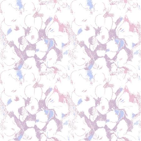 aerate: Seamless pattern con fiori viola. Abbozzo Pastel. Motivo floreale luminoso, luminoso e arioso.