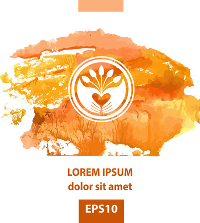 monotype: Vector on the theme of Plant. Seeds, planting seedlings, hand picking. Orange watercolor background. Monotype. Nature protection, love and care about nature. Illustration