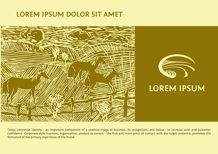 Vector with the image field of the road. Linocut depicting horses in the field Иллюстрация