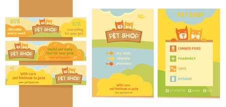 pet store: Design, emblem store for cats and dogs. Cartoon illustration. Editable. A series of banners, flyers for advertising. Promotional kit for pet store