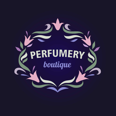 essences: Vector logo with a vignette of flowers. Aromatherapy, perfume boutique. Flower essences, essential oils.
